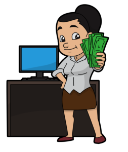 Professional services. Woman holding money out in front of a computer